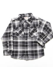 Button-downs - PLAID FLANNEL SHIRT (4-7)