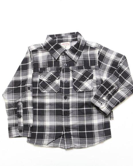 Arcade Styles Boys Black Plaid Flannel Shirt (4-7)
