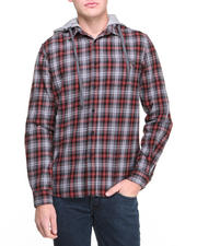 Button-downs - Flannel Shirt w/ Print Hoodie