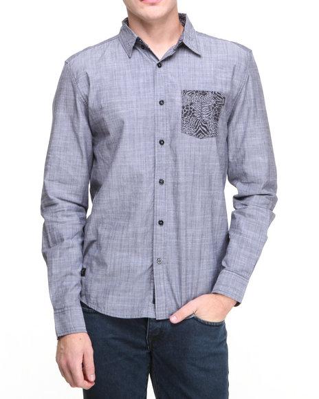 Wesc - Men Blue Zebraffger Button Down Shirt