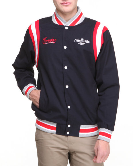 Crooks & Castles - Men Navy Ncl Baseball Jacket - $78.99