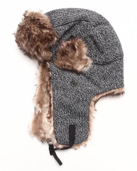 Drj Accessories Shoppe - Men Black Mix Fabrication Trapper Hat W/Faux Fur Trim
