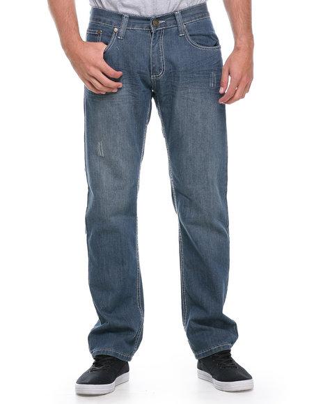 Basic Essentials - Men Medium Wash Bracket Crinkle Slim Straight Denim Jeans