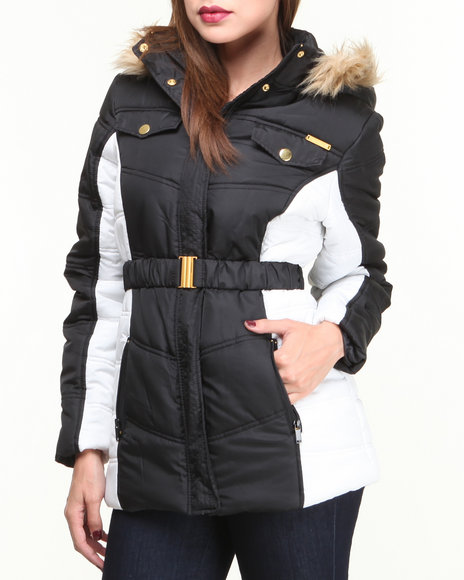 Apple Bottoms - Women Black,White Colorblock Hooded Puffer Coat - $45.99