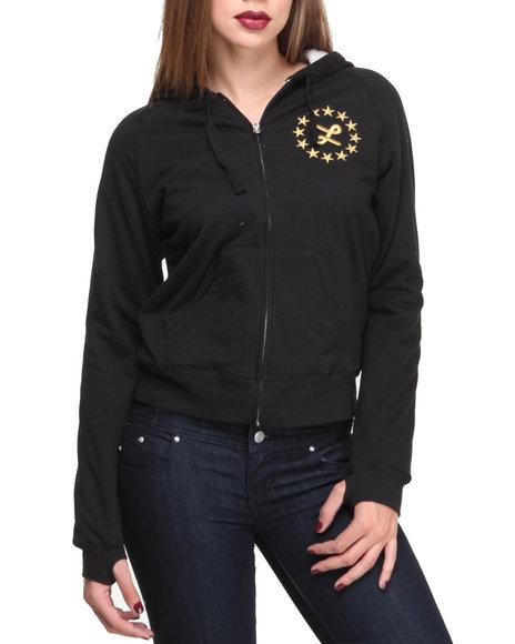 Lrg - Women Black Scotch Hoodie All Over Fleece W/ Thumb Holes - $45.99