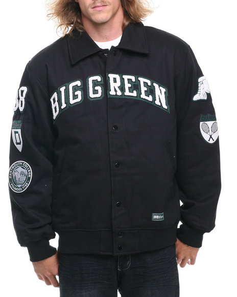 Nba, Mlb, Nfl Gear - Men Black Dartmouth Padded Canvas Ivy League Varsity Jacket