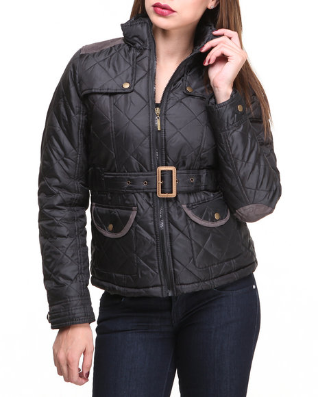 Basic Essentials - Women Black Cindy Quilted Heave Weight Puffer Jacket W/Arm Patches