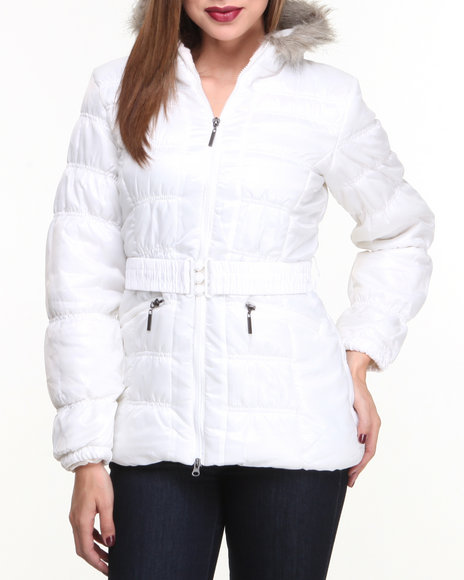 Basic Essentials - Women White Holly Ruched Detail Cire Bubble Coat