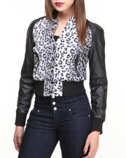 Women - Cheetah Print Vegan Leather Bomber