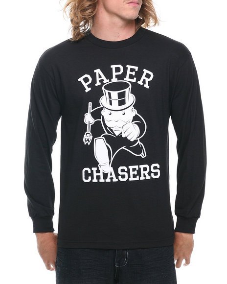 Crooks & Castles Black Paper Chasers L/S T-Shirt