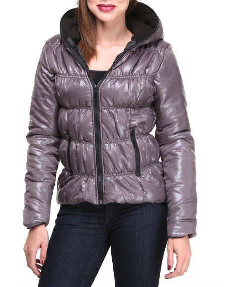 Basic Essentials - Women Grey Tinker Hooded Bubble Coat W/Zipper Detail On Hood