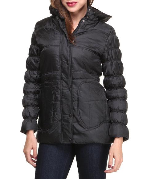Basic Essentials - Women Black Lizza Nylon Puffer Jacket W/Ruching Detail
