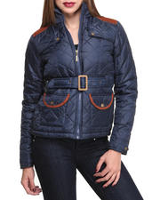 Basic Essentials - Cindy Quilted Heave Weight Puffer Jacket w/arm patches