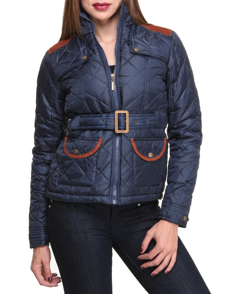 Basic Essentials - Women Navy Cindy Quilted Heave Weight Puffer Jacket W/Arm Patches
