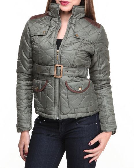 Basic Essentials - Women Olive Cindy Quilted Heave Weight Puffer Jacket W/Arm Patches