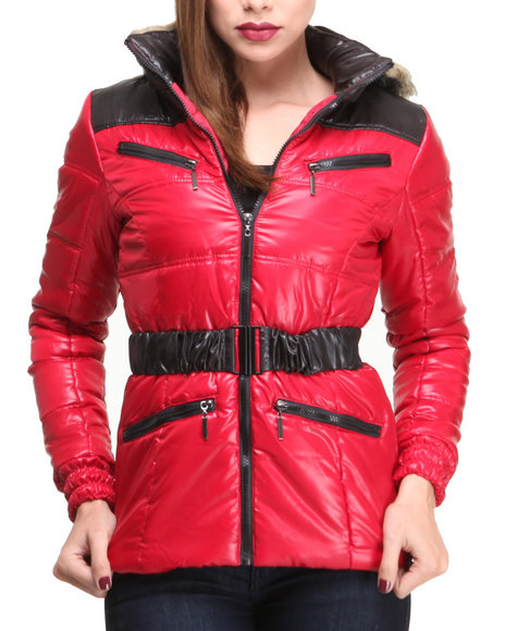 Basic Essentials - Women Red Adventure Bubble Coat W/Hood