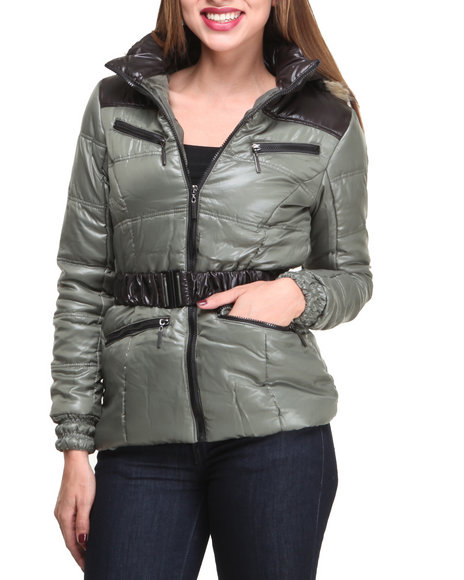 Basic Essentials - Women Olive Adventure Bubble Coat W/Hood