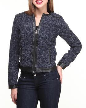 Basic Essentials - Monica Wool Short Coat w/vegan leather detail