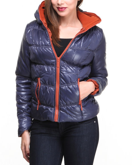 Basic Essentials - Women Navy Tinker Hooded Bubble Coat W/Zipper Detail On Hood