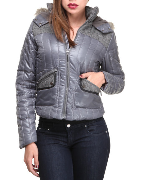 Basic Essentials - Women Grey Brit Bubble Shiny Coat - $27.99