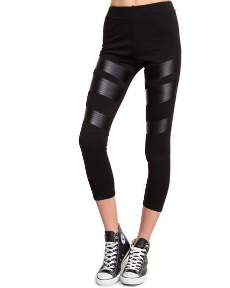 Leggsington - Women Black Janet Vegan Leather Leggings