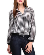 Holiday Gift Ideas - Her - Houndsthooth Printed Chiffon Jacket