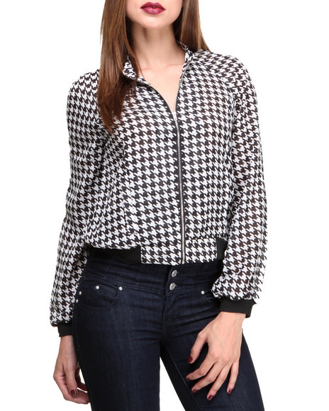 ROMEO & JULIET COUTURE Black,White Houndsthooth Printed Chiffon Jacket