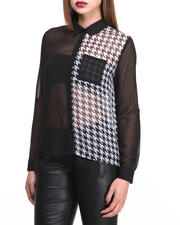 Holiday Gift Ideas - Her - Houndstooth Colorblock Chiffon L/S Shirt