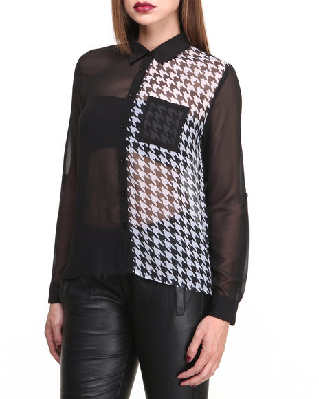 Romeo & Juliet Couture - Women Black,White Houndstooth Colorblock Chiffon L/S Shirt
