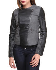 Outerwear - Linda MIX Fabrication Wool and Vegan Leather Coat w/zipper detail
