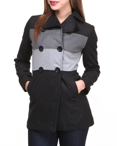 Basic Essentials - Women Black Claudia Color Blocked Heavy Weight Wool Coat