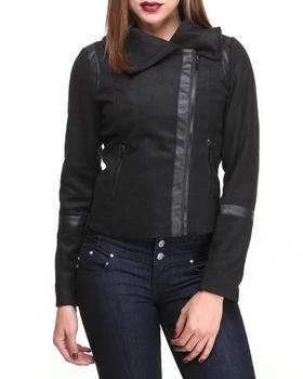 Basic Essentials - Mix Media  Short Jacket w/Vegan Leather Trim Detail