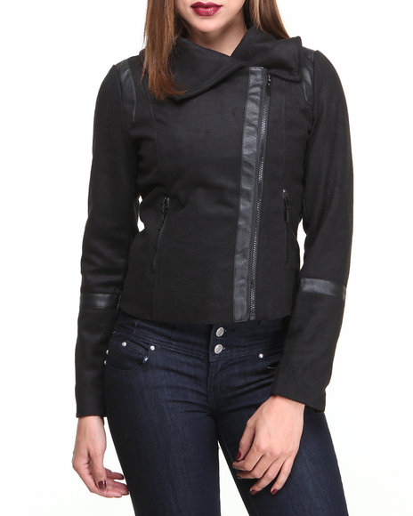 Basic Essentials - Women Black Mix Media  Short Jacket W/Vegan Leather Trim Detail