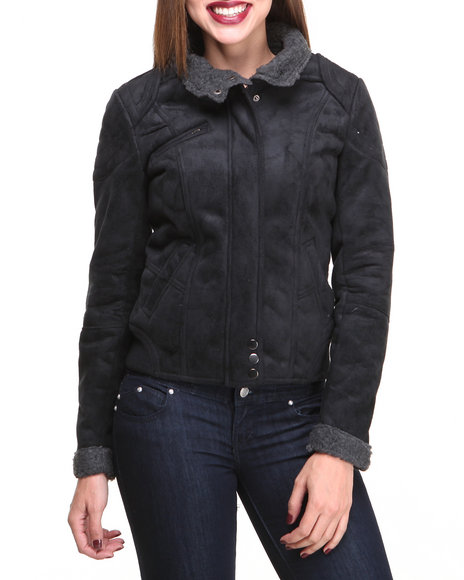 Basic Essentials - Women Black Racer Jacket Faux Suede Coat