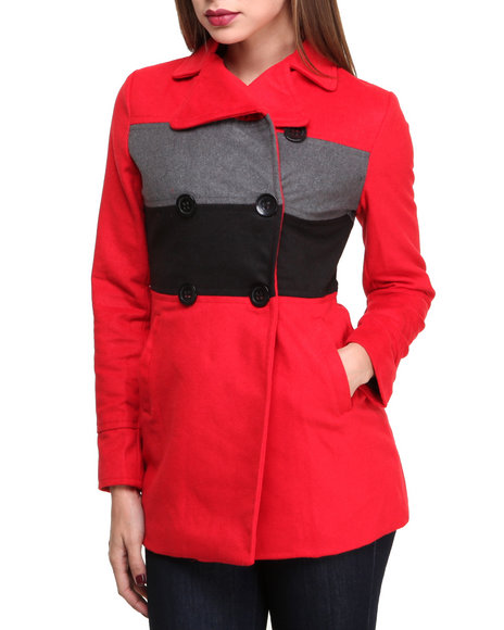 Basic Essentials - Women Red Claudia Color Blocked Heavy Weight Wool Coat
