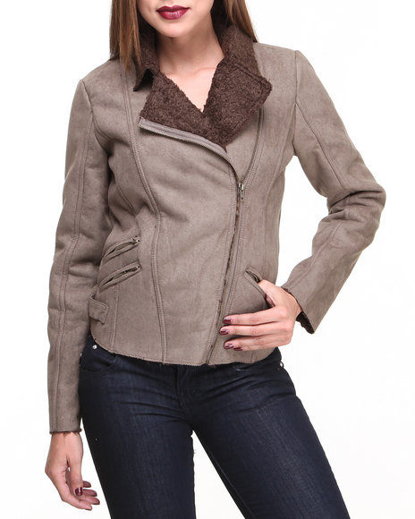 Basic Essentials Beige Faux Suede Moto Jacket W/Zipper