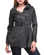 Women - Inspector B Vegan Leather Sleeve and Tweed Body coat w/belt