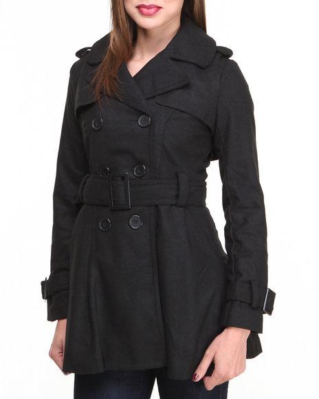 Basic Essentials - Women Black Mindy Wool Coat W/Pleated Skirt Detail Belt - $33.99
