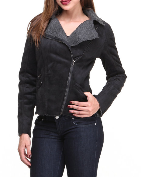 Basic Essentials - Women Black Faux Suede Moto Jakcet W/Zipper