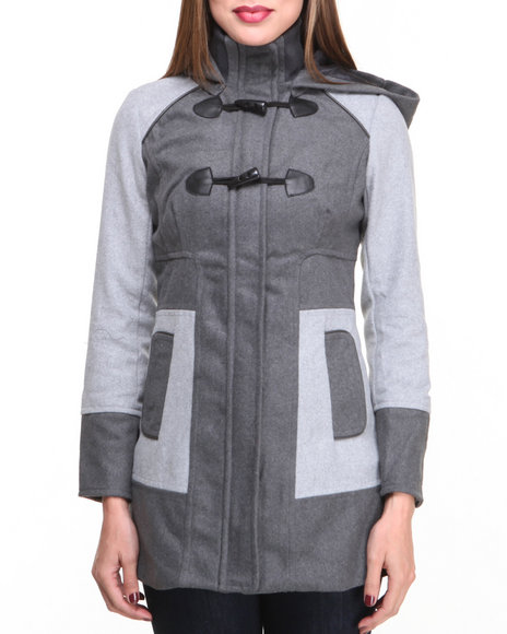Basic Essentials - Women Grey Andy Color Blocked Wool Coat W/Button Detail Pockets Toggle Hood - $37.99