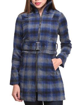 Basic Essentials - Teen Spirit Wool Plaid Heavy Coat w.belt zipper
