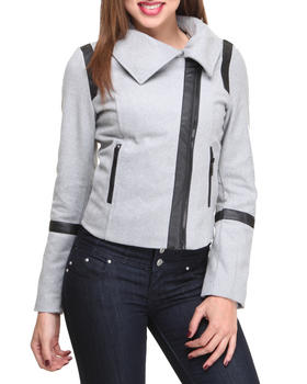 Basic Essentials - Mix Media  Short Jacket w/Vegan Leather Trim Detail