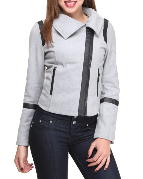 Basic Essentials - Women Grey Mix Media  Short Jacket W/Vegan Leather Trim Detail