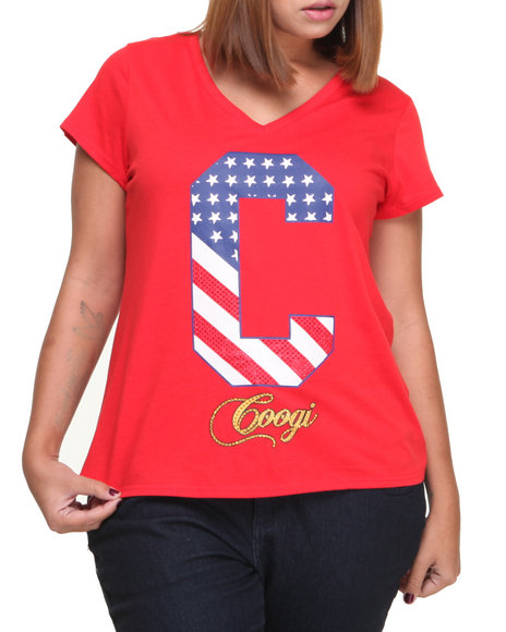 COOGI Red Free To Be Sexy Tee W/ Studs (Plus Size)