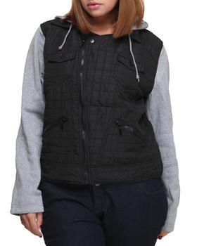 Basic Essentials - Moon Lightweight Fleece  Zip Up Jacket w/nylon detail (plus)