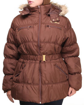Apple Bottoms - Mid Length Hooded Puffer (Plus)