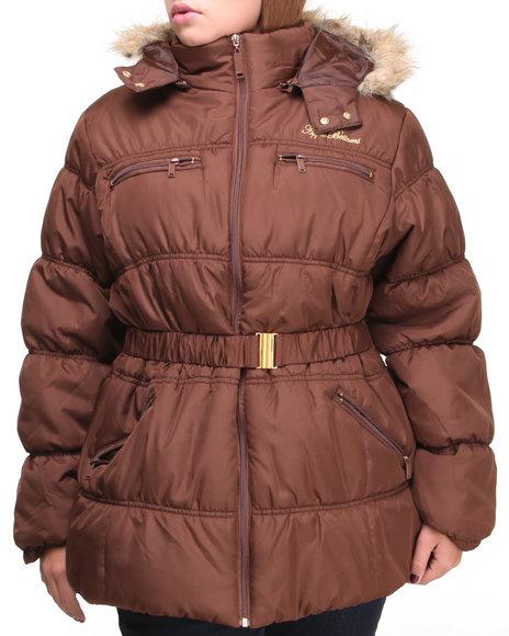 Apple Bottoms - Women Brown Mid Length Hooded Puffer (Plus)