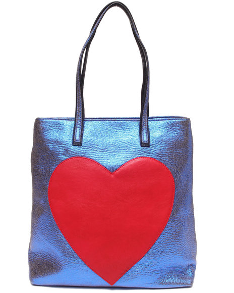 Fashion Lab Women Heart Tote Handbag Blue - $17.99