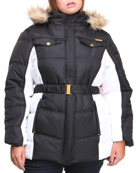Apple Bottoms Black,White Colorblock Hooded Puffer Coat (Plus Size)
