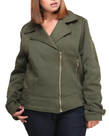 Basic Essentials - Women Olive Ora Moto Fleece Jacket (Plus)